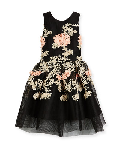 Mila Sleeveless Pleated Floral Mesh Dress, Black, Size 4-6