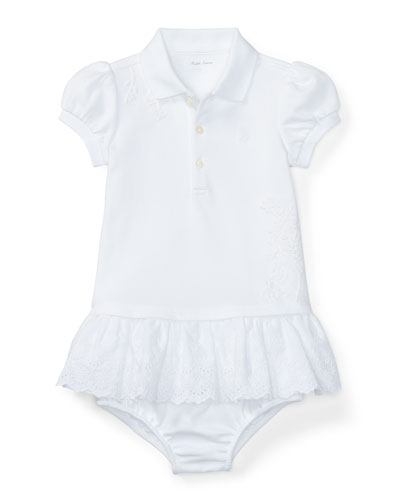 Cap-Sleeve Embroidered Polo Dress w/ Bloomers, White, Size 9-24 Months