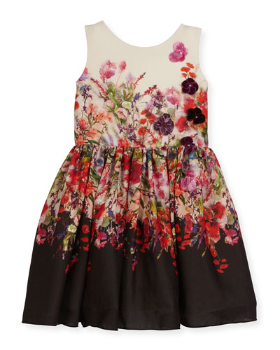 Scarlet Sleeveless Floral Crepe Chiffon Dress, Multicolor, Size 7-16