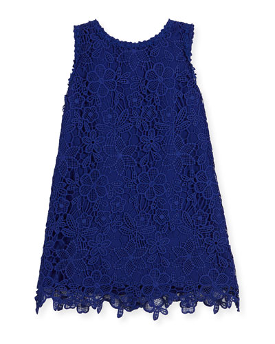 sleeveless floral lace shift dress, cobalt, size 2-6