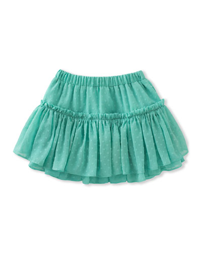 tiered clipped dot skirt, turquoise, size 2-6