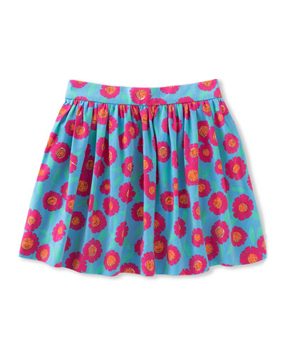 coreen floral stretch poplin skirt, multicolor, size 7-14