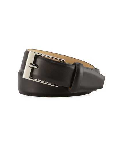 Boys' Faux-Leather Dress Belt, Black, S-L