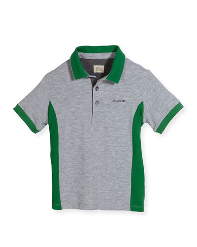 Short-Sleeve Heathered Jersey Polo Shirt, Green/Gray