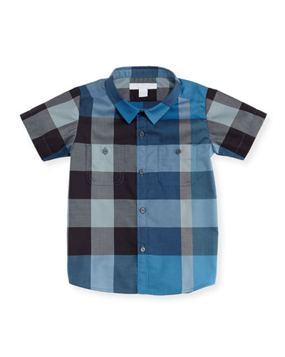 Mini Camber Short-Sleeve Check Shirt, Blue, Size 6M-3T