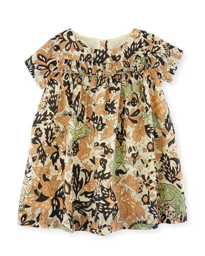 Emanuella Short-Sleeve Cotton Dress, Size 12M-3T