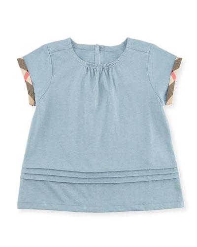 Gisselle Pintucked Melange Jersey Tee, Blue, Size 2