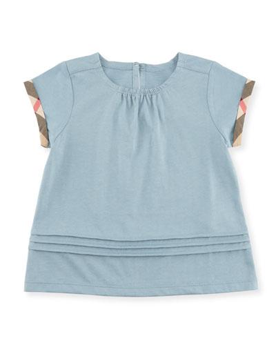 Gisselle Pintucked Melange Jersey Tee, Blue, Size 2