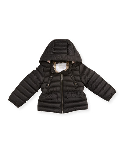 Mini Bronwyn Quilted Puffer Coat, Black, Size 12M-3T
