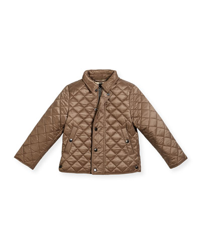 Luke Quilted Snap-Front Jacket, Brown, Size 4-12