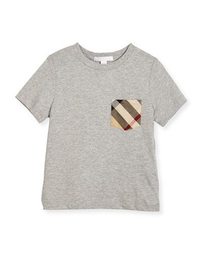 Callum Check-Pocket Jersey Tee, Size 4