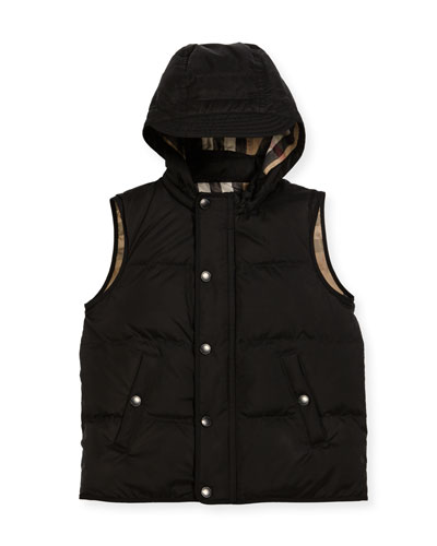 Carlton Hooded Puffer Vest, Size 4-14