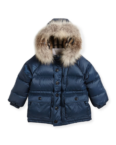Lachlan Fur-Trim Hooded Puffer Jacket, Size 4-14