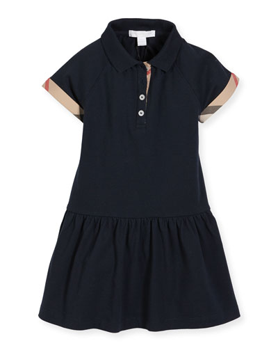 Cali Smocked Raglan Polo Dress, Navy, Size 4-14