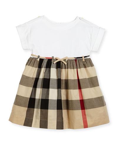 Rhonda 1 Jersey & Check Poplin Dress, Size 4