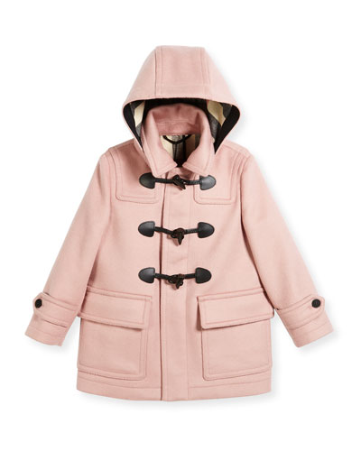 Burwood Hooded Wool Toggle Coat, Rose, Size 4-14