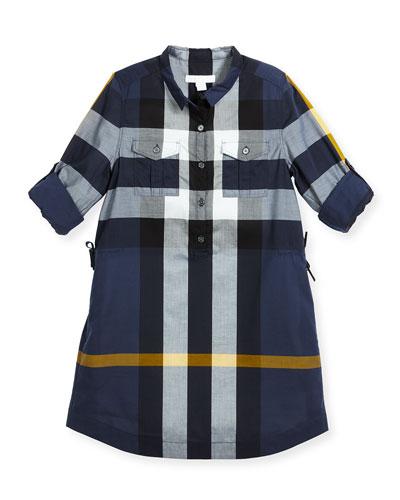 Darielle Long-Sleeve Check Shirtdress, Size 4-14
