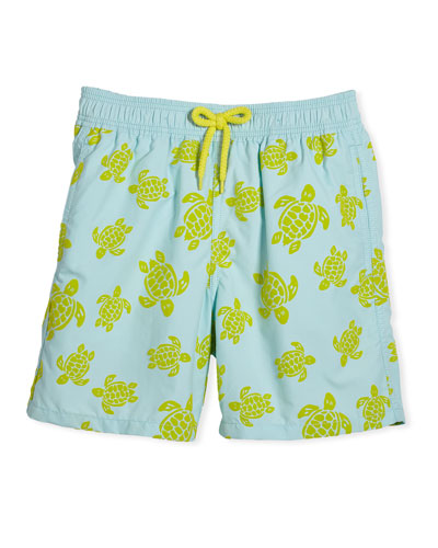 Flocked Turtle Swim Trunks, Size 10-14