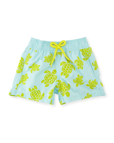 Jim Flocked Turtles Swim Trunks, Boys' 2-8