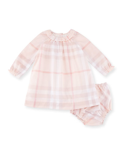 Amandine Long-Sleeve Check Shift Dress w/ Bloomers, Pink, Size 12 Months
