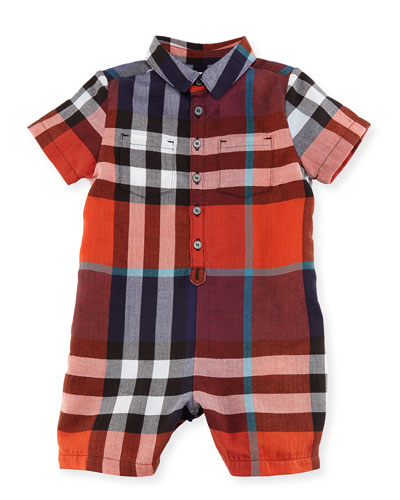 Kirk Short-Sleeve Check Playsuit, Size 3-24 Months