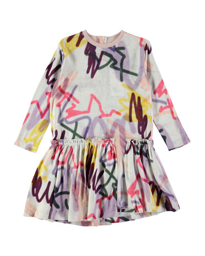 Candis Long-Sleeve Jersey Graffiti Dress, Gray/Multicolor, Size 3T-12