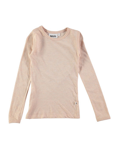 Ramona Long-Sleeve Metallic Jersey Tee, Blush, Size 3-14
