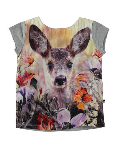 Rubertha Roe Deer Jersey Tee, Gray, Size 3-12