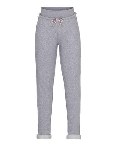 Agnete Cotton Terry Sweatpants, Gray Melange, Size 3-12