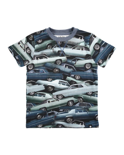 Ralphie Stacked Cars Jersey Tee, Blue, Size 4-10