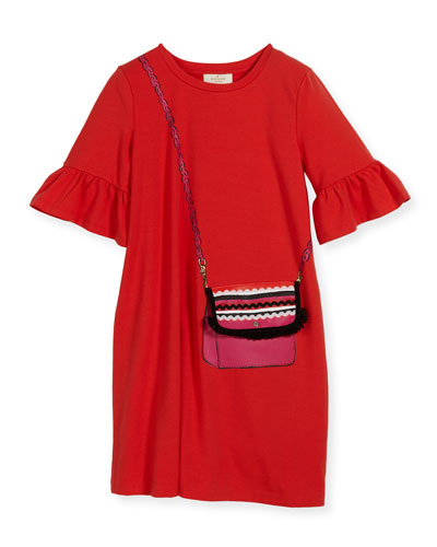 girls' trompe l'Oeil bag dress, coral, size 7-17