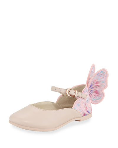 Chiara Butterfly Mini Ballet Flat, Sizes 5T-2Y