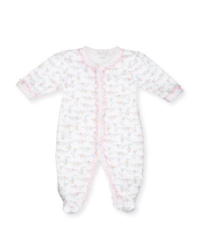 Darling Dachshunds Pima Footie Pajamas, White/Pink, Size Newborn-9 Months