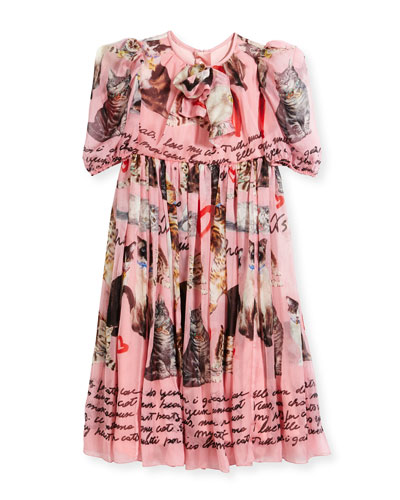Chiffon Cat-Print Dress, Size 8-10