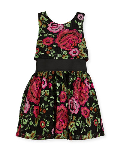 Valentine Elastic-Waist Rose-Print Dress, Black, Size 7-16