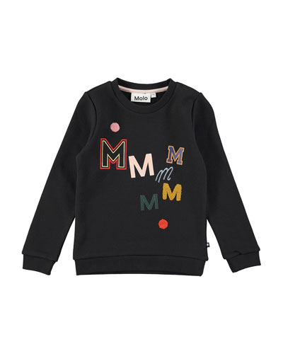 Mara Black Bean Crewneck Sweatshirt, Black, Size 4-14