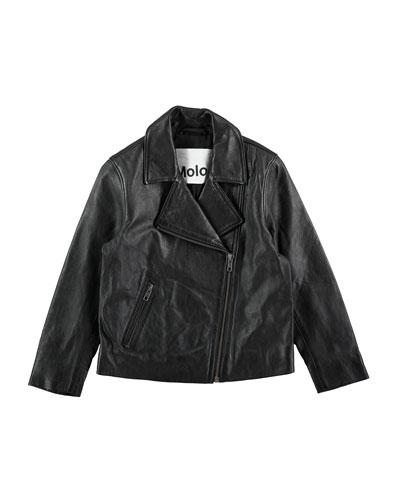 Hazel Leather Moto Jacket, Black, Size 4-14