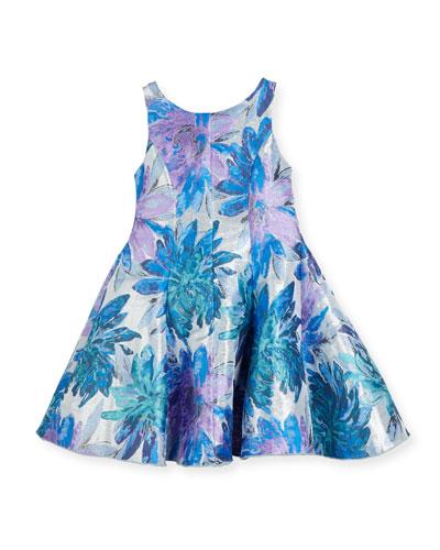 Blue Dahlia Metallic Floral Brocade Dress, Purple, Size 7-16