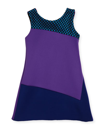 Preppy Perfect Colorblock Sheath Dress, Purple, Size 7-16