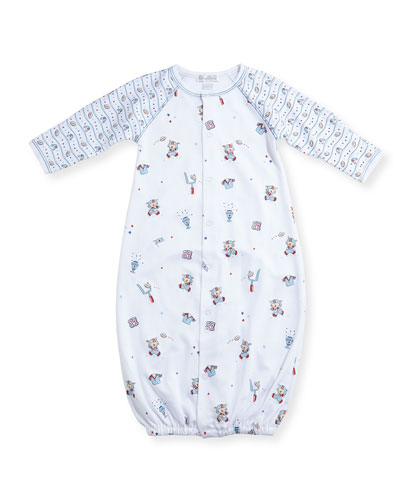 First Down Football Print Convertible Sleep Gown, Size Newborn-Small