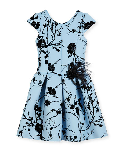 Sky Silhouette Box-Pleated Dress, Blue, Size 7-16