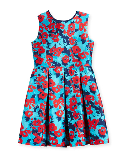 Floral Mikado Dress, Blue, Size 2-14