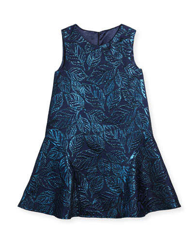 Jacquard Sleeveless Drop-Waist Dress, Size 2-14
