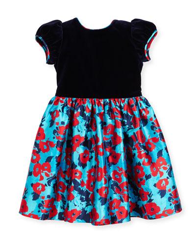 Wild Rose-Print Mikado Dress, Blue Pattern, Size 2-6