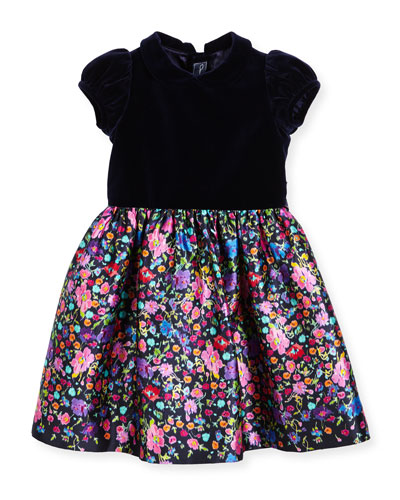 Collared Floral Mikado Dress, Multicolor, Size 2-6