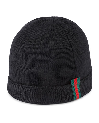 Kids' Knit Web Trim Beanie Hat, Black