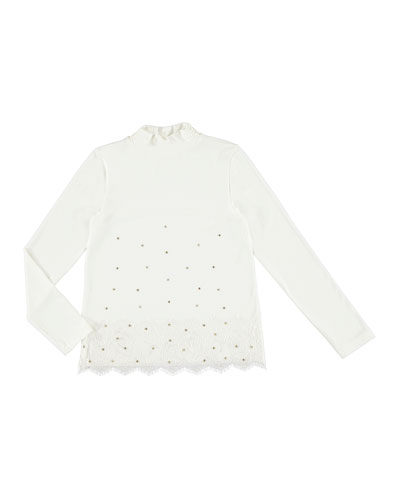 Studded Turtleneck Lace Blouse, Size 8-16