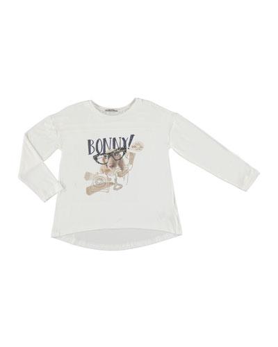 Puppy w/ Glasses Graphic T-shirt, Beige, Size 8-16