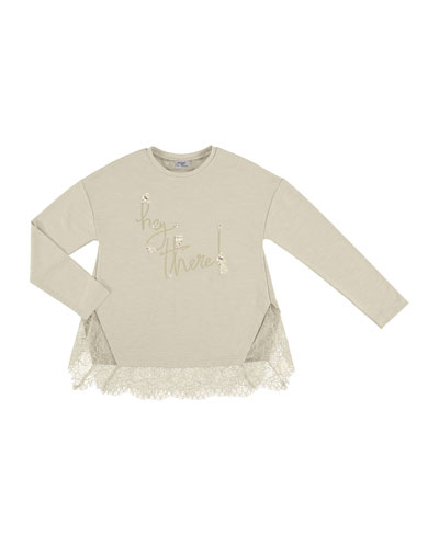 Hey There Lace Tee, Beige, Size 8-16