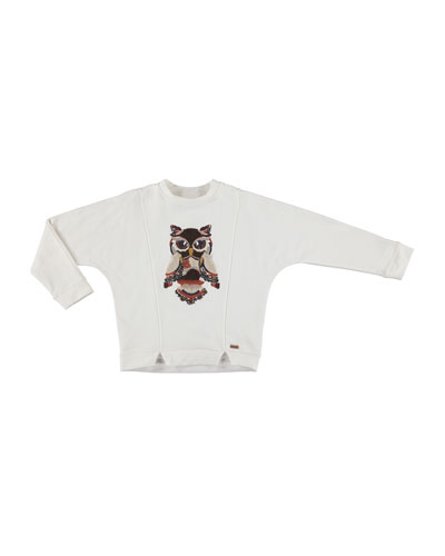 Notched Pullover Owl Sweater, Size 8-16